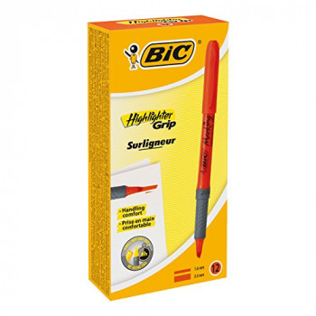 BIC Highlighter Grip Pens - Orange, Box of 12