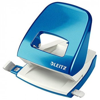 Leitz Hole Punch, 30 Sheets, Guide Bar with Format Markings, Metal, WOW Range, 50081036 - Metallic Blue