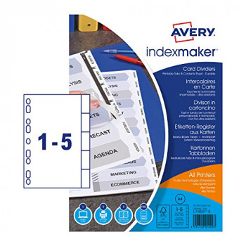 Avery 01810061 A4 IndexMaker Punched Card Dividers with Printable Tabs, 5 Part Dividers - White