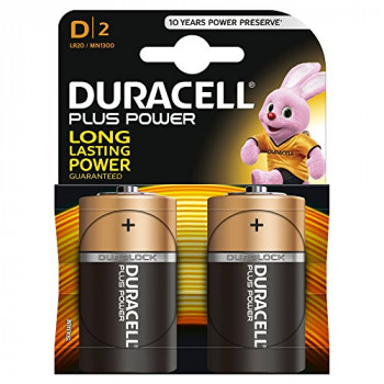Duracell Plus Power Alkaline Pack of 2 D Batteries