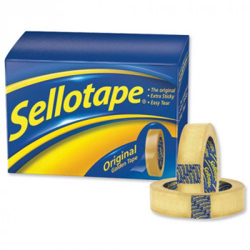 Sellotape 1443254 Original Golden Tape Roll Non-Static Easy-Tear Small 24mmx33m [Pack 6]