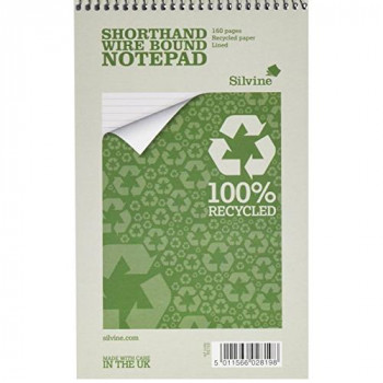 Silvine Everyday Shorthand Notepad Recycled Wirebound Ruled 160pp 70gsm 125x200mm Ref RE160 [Pack of 12]
