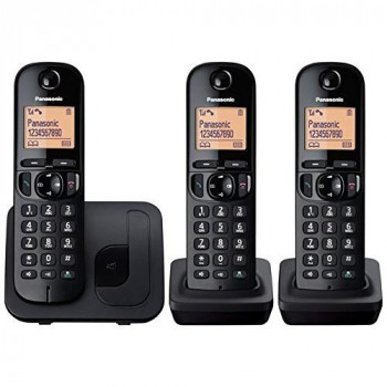 Panasonic KX-TGC213EB Digital Cordless Phone with LCD Display (Three Handset Pack) - Black