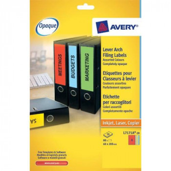 Avery L7171A-20 Opaque Lever Arch Labels (A4 Sheets of 200 x 60 mm, 4 Labels Per Sheet, 20 Sheets) - Assorted Colours