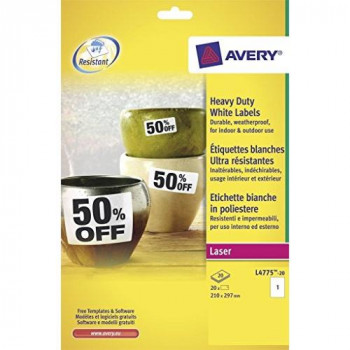 Avery L4775-20 Heavy Duty Weatherproof Labels for Laser Printers (1 Label Per A4 Sheet, 20 Sheets), 210 x 297 mm