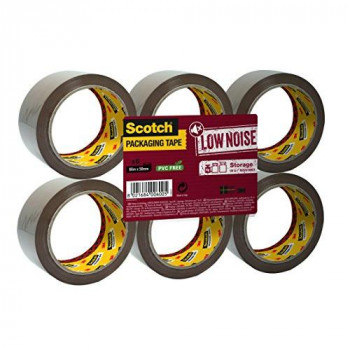 3M Scotch Packing Tape Low noise brown storage tape refills, 1 x flat pack of 6 rolls (50 mm x 66 m)