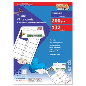 DECAdry Place Cards for Folding 200gsm 6 per A4 Sheet 85x46mm when Folded - Ref OCB3713-3 (Pack 132 Cards)