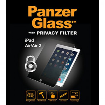 PanzerGlass Privacy Protective Anti Scratch Fluid Resistant Glass Screen Protector Shield for iPad Air/Air 2 - Clear