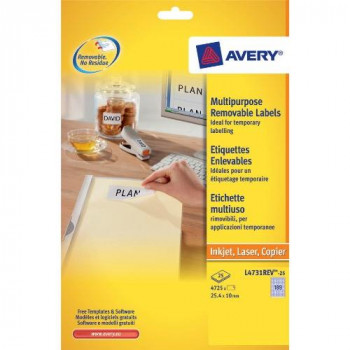 Avery L4731REV-25 Mini Labels with Removable Adhesive (25.4 x 10 mm Labels, 189 Labels Per A4 Sheet, 25 Sheets) - White