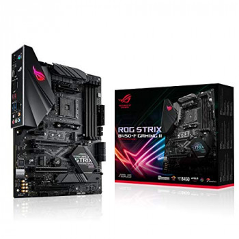 ASUS AMD AM4 B450 Gaming ATX motherboard with 12 power stages, DDR4 4400 MHz support, AI Noise-Canceling Microphone, M.2 with heatsink, USB 3.2 Gen 2, SATA 6 Gbps and Aura Sync RGB lighting
