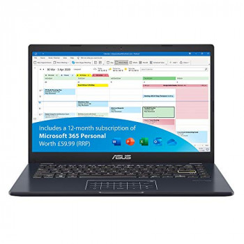 ASUS VivoBook with Microsoft Office 365 - E410MA Full HD 14 inch Laptop (Intel Celeron N4020, 4GB RAM, 64GB eMMC, Windows 10 S) - Includes LED NumberPad