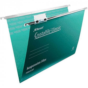 Rexel Crystalfile Classic Suspension Files Foolscap, 150 Sheet Capacity - Green, Pack of 50