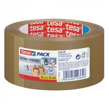 tesa Packing Tape Ultra Strong PVC Packaging Tape for Heavy Parcels and Boxes 66 m x 50 mm - Brown, 6 Rolls