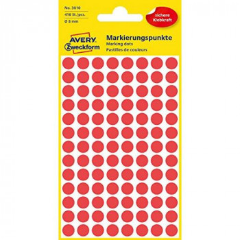 Avery 32-301 Self Adhesive Dots/Circle Labels - Red (Diameter 8 mm, 70 Labels per Sheet, 560 Labels Total)