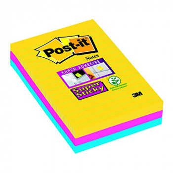 "Post-it 101 x 152 mm ""Rio color collection"" Super Sticky Lined Notes (Pack of 3)"