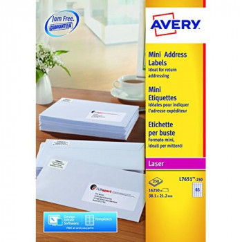 Avery L7651-250 Mini Organising/Return Address Labels for Laser Printers (38.1 x 21.2 mm, 65 Labels Per A4 Sheet, 250 Sheets)