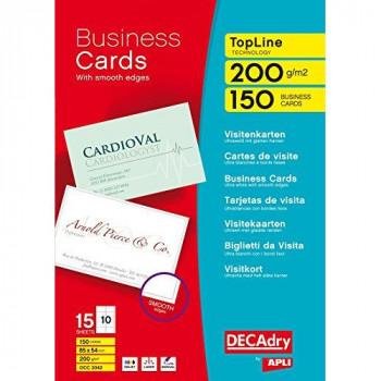 DECAdry TopLine Business Cards Straight White - Ref OCC3342 (Pack 150)