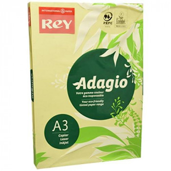 Adagio A3 80 GSM Rey Paper - Canary (Pack of 500 Sheets)