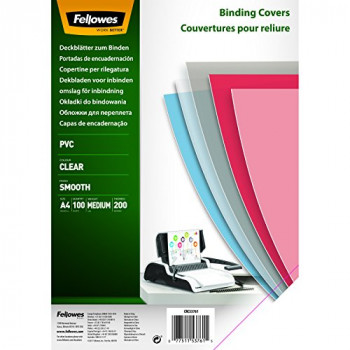 Fellowes A4 Binding Covers, PVC 200 Micron, Clear, Pack of 100