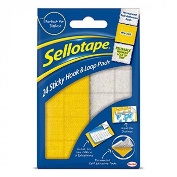 Sellotape Sticky Hook and Loop Sets,  20 x 20 mm Ref 4542 - Pack of 24