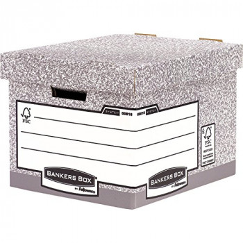 Bankers Box 0081801 System Heavy Duty Standard Box - Grey, Pack of 10
