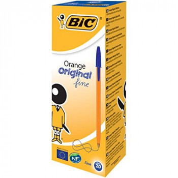 BIC Orange Original Fine Ballpoint Pen - Blue, Pack of 20