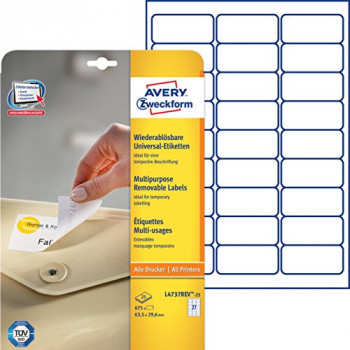 Avery L4737REV-25 Removable Labels (A4 Sheet of 63.5 x 29.6 mm Labels, 27 Labels per Sheet, 25 Sheets) - White