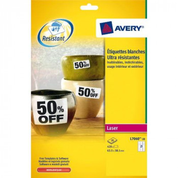 Avery L7060-20 Heavy Duty Weatherproof Labels for Laser Printers (63.5 x 38.1 mm Labels, 21 Labels Per A4 Sheet, 20 Sheets)