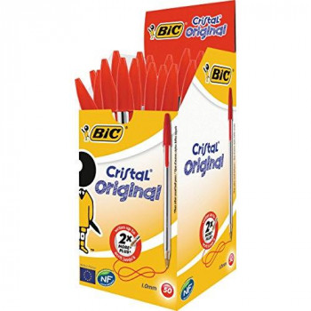 BIC Cristal Original 1.0 mm Ball Pen - Red, Pack of 50