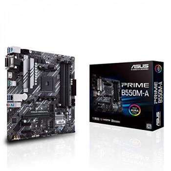 ASUS Prime B550M-A AMD B550 (Ryzen AM4), dual M.2, PCIe 4.0, DDR4 4400, 1 Gb Ethernet, HDMI/D-Sub/DVI, USB 3.2 Gen 2 Type-A, Aura Sync RGB