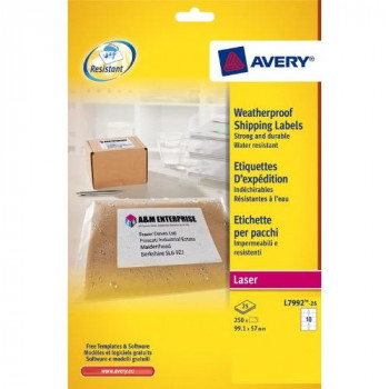 Avery L7992-25 250 Postal Labels Ultra-Durable 99.1 x 57 mm White