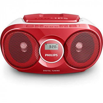 Philips CD player AZ215R/05 CD player radio (Dynamic Bass Boost, FM digital tuner, CD shuffle/repeat function, 3 W, 3.5-mm audio-in) red