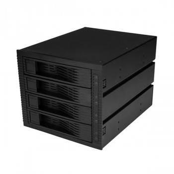 StarTech.com 4 Bay 3.5in SATA SAS Backplane - Hot Swap Mobile Rack for 3 5.25in Bays - Trayless - SAS Backplane - SATA Backplane