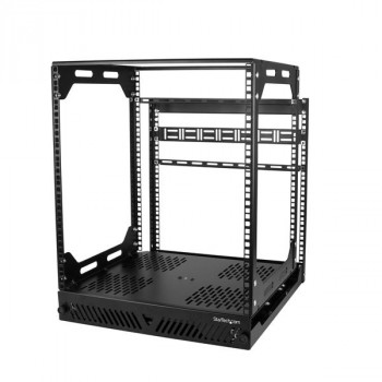 StarTech.com 12U Slide Out Server Rack - Rotating - 12U Server Rack - 4 Post Rack - Pull-Out Rack
