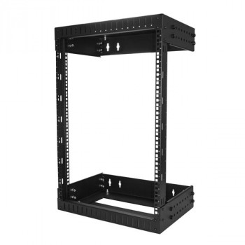 15U Open Frame Wallmount Server Rack with Adjustable Rails - Up to 20 Inch Depth - Weight Capacity 198lbs (90kg)